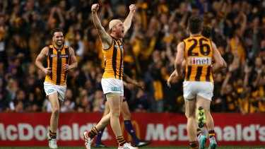Jarryd Roughead of the Hawks celebrates after kicking a goal during Friday night's preliminary final against Fremantle.