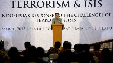 Indonesian Vice-President Jusuf Kalla speaks at the opening of a conference on terrorism and Islamic State in Jakarta on March 23.