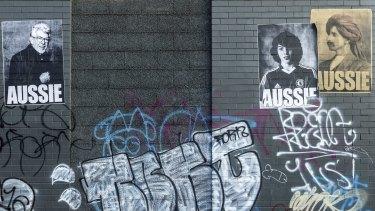 "Rolf Harris and Jake Bilardi feature in the ""Aussie"" poster series imitation."