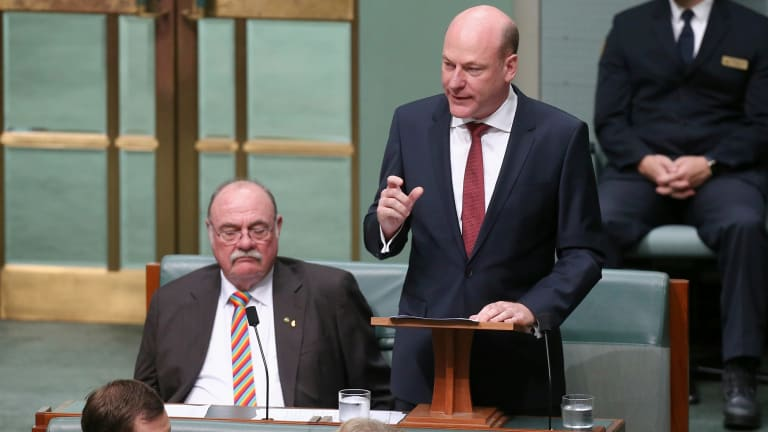 Trent Zimmerman delivers his first speech to the House of Representatives at Parliament House in Canberra.