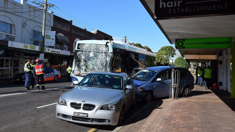 The impact of the crash pushed one of the cars onto the footpath in Cammeray.