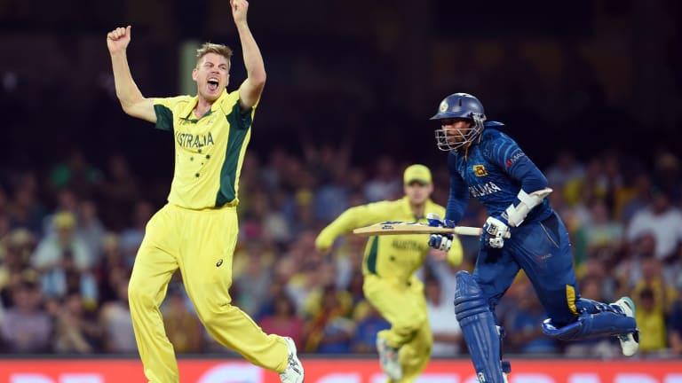 You beauty: James Faulkner celebrates after dismissing Sri Lanka batsman Tillakaratne Dilshan on Sunday.