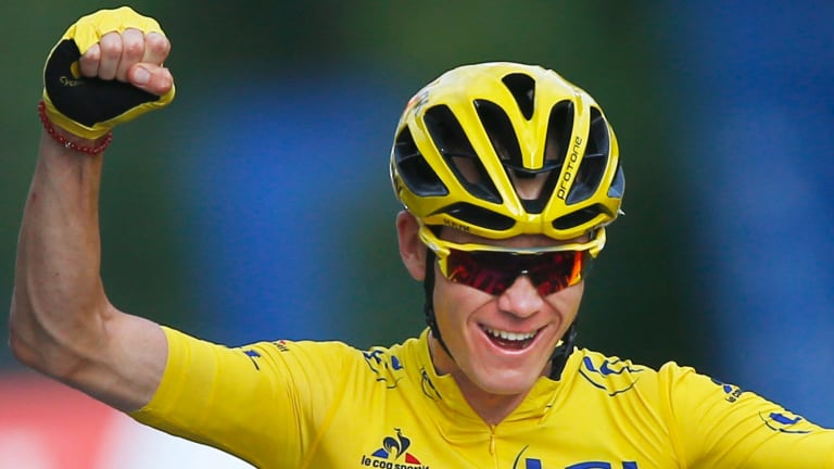 Chris Froome crosses the finish line to win last year's Tour de France.