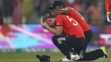 A distraught Ben Stokes after he was hit for four successive sixes in the final over.