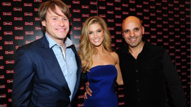 Swisse CEO Radek Sali (left), singer Delta Goodrem, who promotes Swisse, and Swisse partner Michael Saba.
