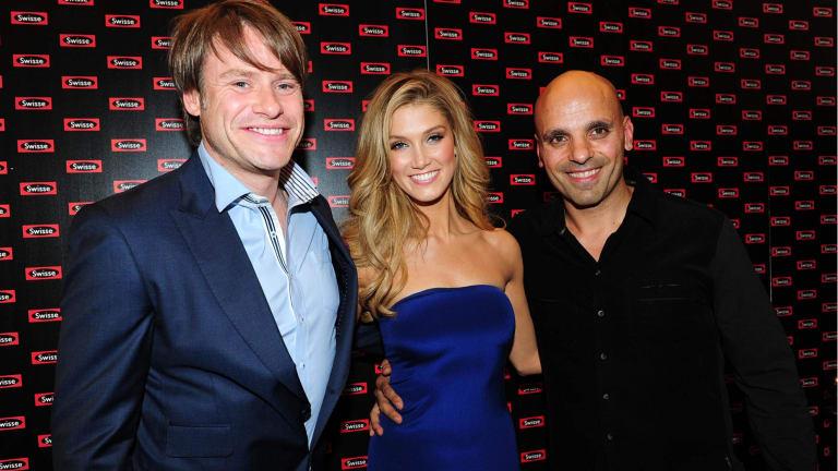Swisse CEO Radek Sali (left), singer Delta Goodrem, who promotes Swisse, and Swisse partner Michael Saba.