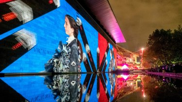 The National Gallery of Victoria's Viktor & Rolf projections were essentially a billboard for the exhibition inside.