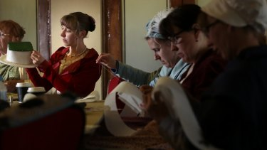 Madeleline James of Calwell in a bonnet-making workshop held as part of the Jane Austen Festival at Albert Hall.