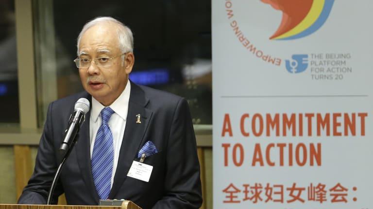 Malaysian Prime Minister Najib Razak speaking at the UN headquarters in New York last month.
