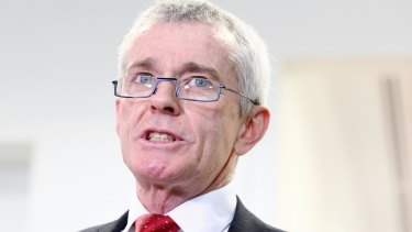 Malcolm Roberts addresses the media at Parliament House in August.