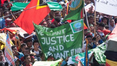 Protesters in Dili last month demanded that Australia negotiate over the Timor Sea boundary.