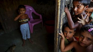 Rohingya children at a refugee camp outside Sittwe, Myanmar, on Wednesday.