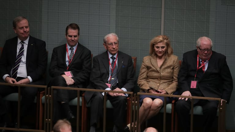 Former Treasurer Peter Costello with friends and family of Harold Holt during Question Time in Canberra.