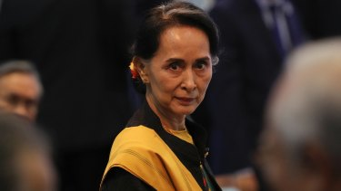 Myanmar de facto leader Aung San Suu Kyi at the 31th ASEAN Summit in Manila, Philippines, on Monday.