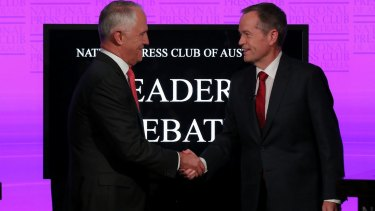 Prime Minister Malcolm Turnbull and Opposition Leader Bill Shorten at the National Press Club.