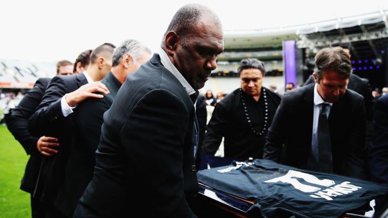 Joeli Vidiri carries Jonah Lomu's casket at the rugby great's public memorial in Eden Park last year.