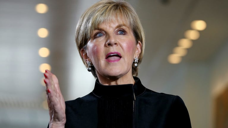 Foreign Minister Julie Bishop during the press conference.
