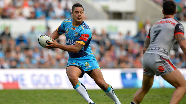 New colours: Jarryd Hayne was a standout performer in his first game for the Titans last week.
