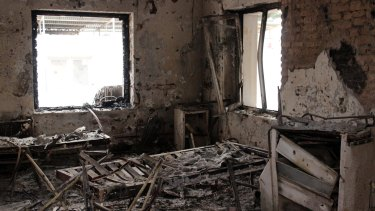 The charred remains of the Doctors Without Borders hospital earlier this month after it was hit by a US airstrike in Kunduz, Afghanistan.