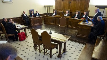 The courtroom on Saturday in the trial against former papal diplomat Jozef Wesolowski.