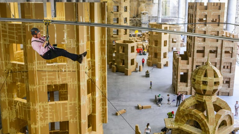 Arts Minister Troy Grant on the flying fox built for the Sydney Festival at Barangaroo.