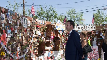 Australian Trade Minister Steven Ciobo attends a memorial in Las Vegas for the 58 victims of the October 1 mass shooting.