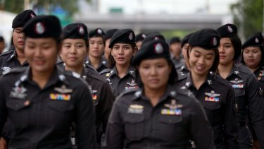 Police officers deploy outside the Thai Supreme Court ahead of ascheduled  verdict on charges accusing former Prime Minister Yingluck Shinawatra of negligence in implementing a rice subsidy.