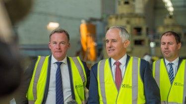 Tasmanian Premier Will Hodgman, Prime Minister Malcolm Turnbull and Energy Minister Josh Frydenberg in Launceston on Thursday.