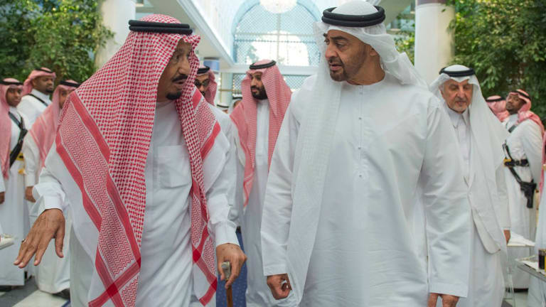 Yemen coalition: King Salman of Saudi Arabia, left, with UAE Crown Prince Mohammed bin Zayed al-Nahyan.