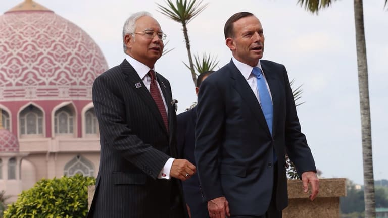 Malaysian Prime Minister Najib Razak and Australian Prime Minister Tony Abbott in Kuala Lumpur last year.