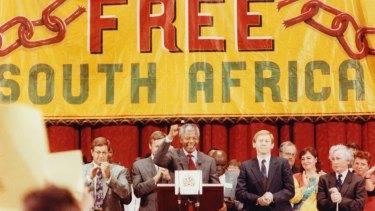 Nelson Mandela in Melbourne in 1990.