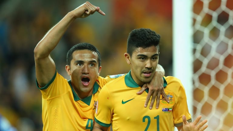 Not me, him! Tim Cahill sends plaudits Massimo Luongo's way after Cahill was beaten to the punch for Australia's second goal.