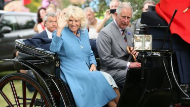 Camilla, Duchess of Cornwall and Prince Charles, Prince of Wales in the royal carriage as they visit Sandringham Flower Show on July 29, England.