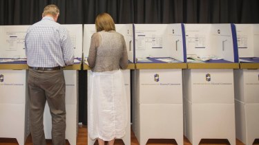 Premier of Western Australia, Colin Barnett and wife Lyn cast their votes in the last state election.