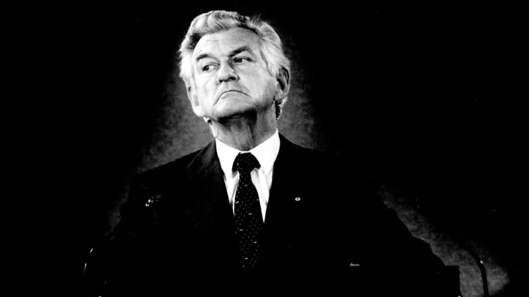 As prime minister, Bob Hawke promised no child would live in poverty by 1990. He is pictured here one year later.