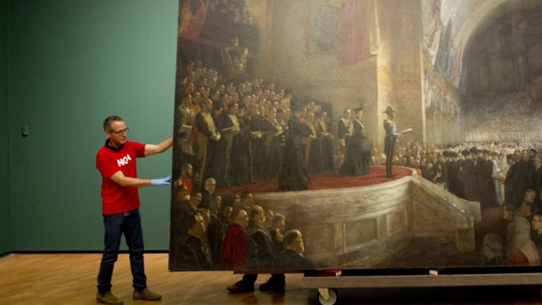 The unveiling of Tom Roberts' the Big Picture at the NGA, the first time it's moved from Parliament House.  Date: 24 November 2015 Photo Jay Cronan