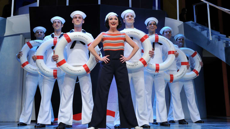Caroline O'Connor (centre) won best actress in a musical for the Opera Australia/John Frost production of the musical <i>Anything Goes</i>, which also won best musical.