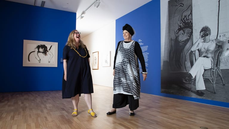 Curator Anne Ryan and Wendy Whiteley at the Art Gallery of NSW ahead of the Brett Whiteley exhibition.