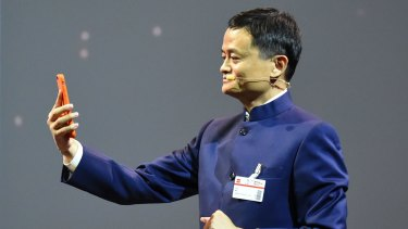 Pay by selfie: The founder and executive chairman of Chinese e-commerce company Alibaba Group, Jack Ma, demonstrates the new facial recognition technology.