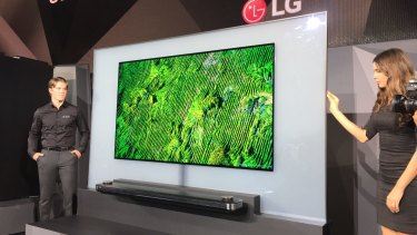 "LG's super-thin ""wallpaper"" OLED television, on show at CES ..."