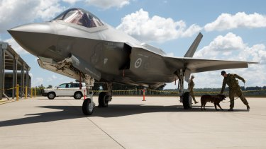 An F-35 Joint Strike Fighter at RAAF Base Amberley, QLD.