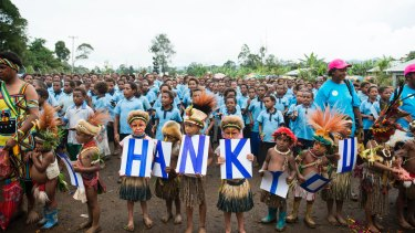 Students at the opening of a library at Kuluanda Primary School in Hela province.