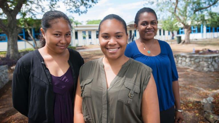 Business and economics students Johnetta Lili, Annemary Serat and Jollanda Methew at the University of Papua New Guinea.
