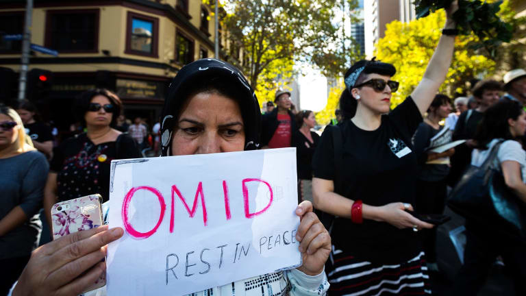Melburnians protest over the treatment of refugees last weekend, after the death of Iranian man Omid Masoumali.