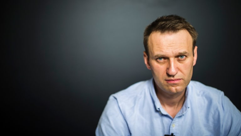 Video blogger and opposition politician Alexei Navalny records a video for his Youtube channel in his office in Moscow