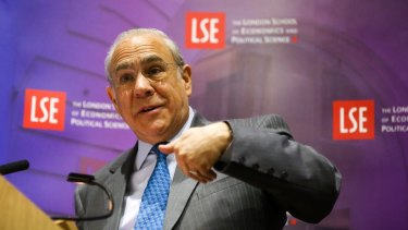 OECD Secretary-General Angel Gurria delivers his speech at the London School of Economics on Wednesday.