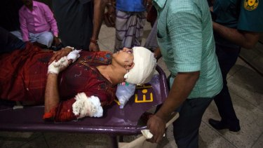 Rafida Ahmed is rushed to hospital after the machete attack.