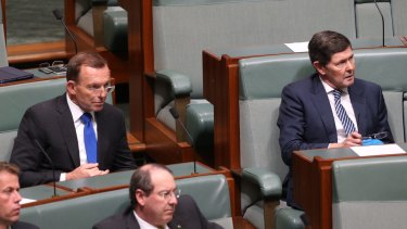 Tony Abbott and Kevin Andrews listen to Prime Minister Malcolm Turnbull deliver a ministerial statement on national security in Parliament on Tuesday.
