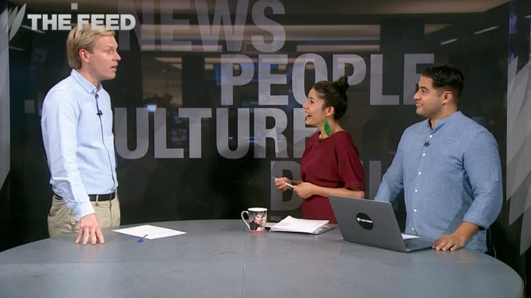 Mark Humphries (left) has delivered plenty of hilarious and telling viral commentaries on <i>The Feed</I>.