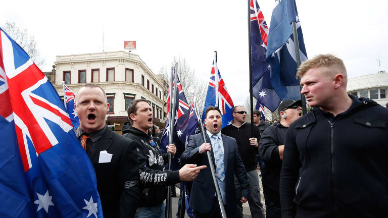 Protesters at an anti-Islam rally in Bendigo.